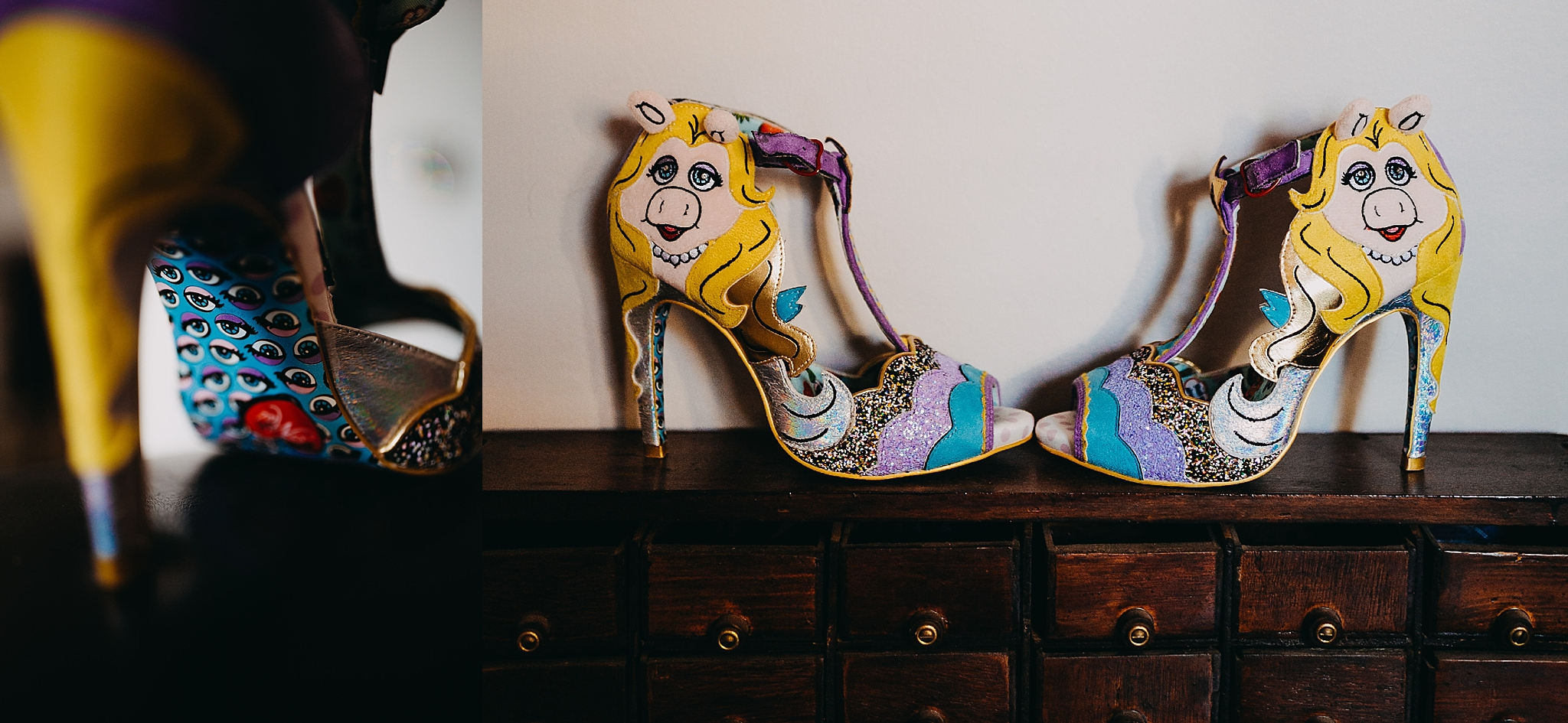 Peter Hugo Photography little miss piggy wedding shoes irregular choice