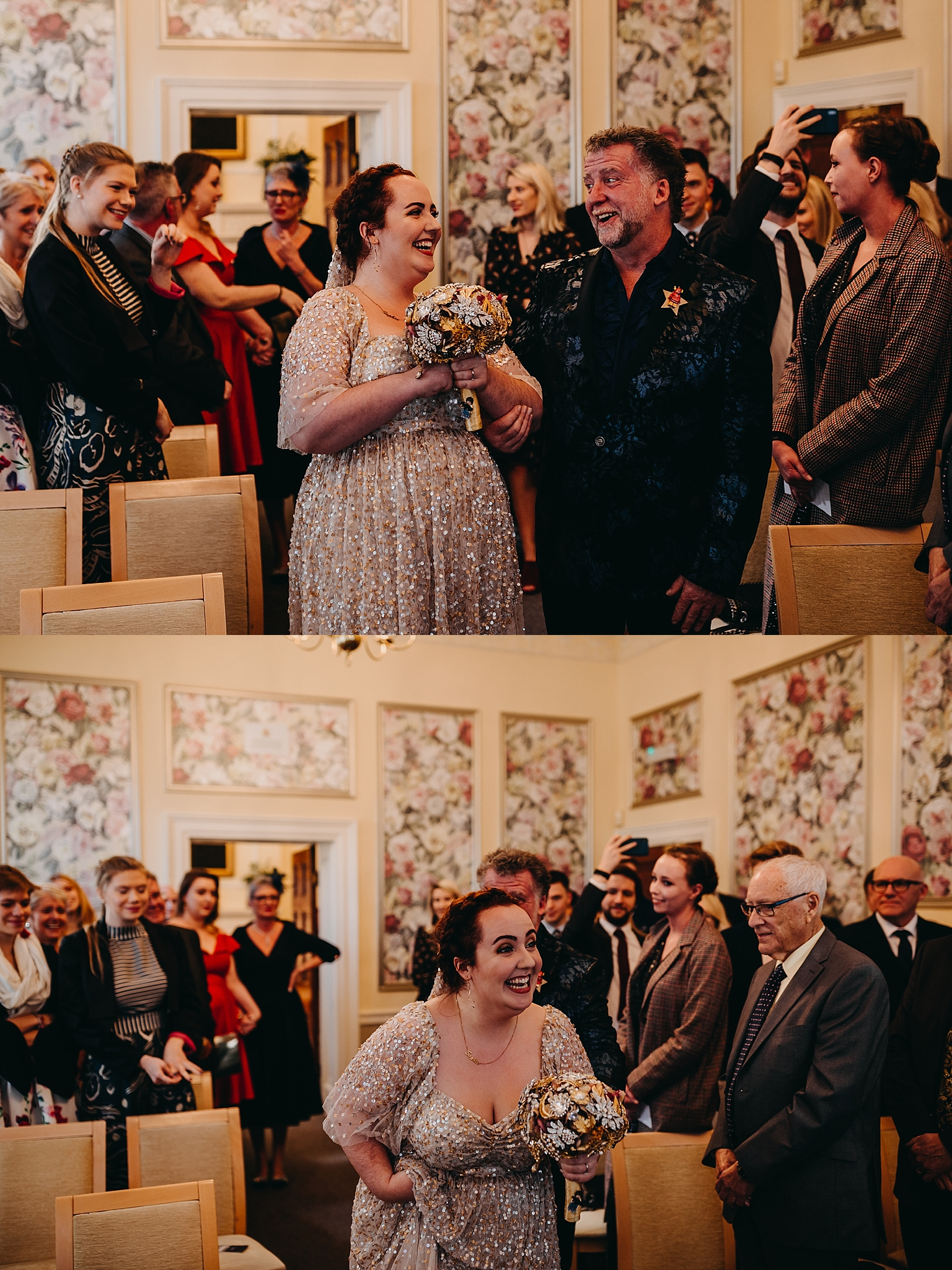Peter Hugo Photography wedding ceremony brides reaction with father of the bride